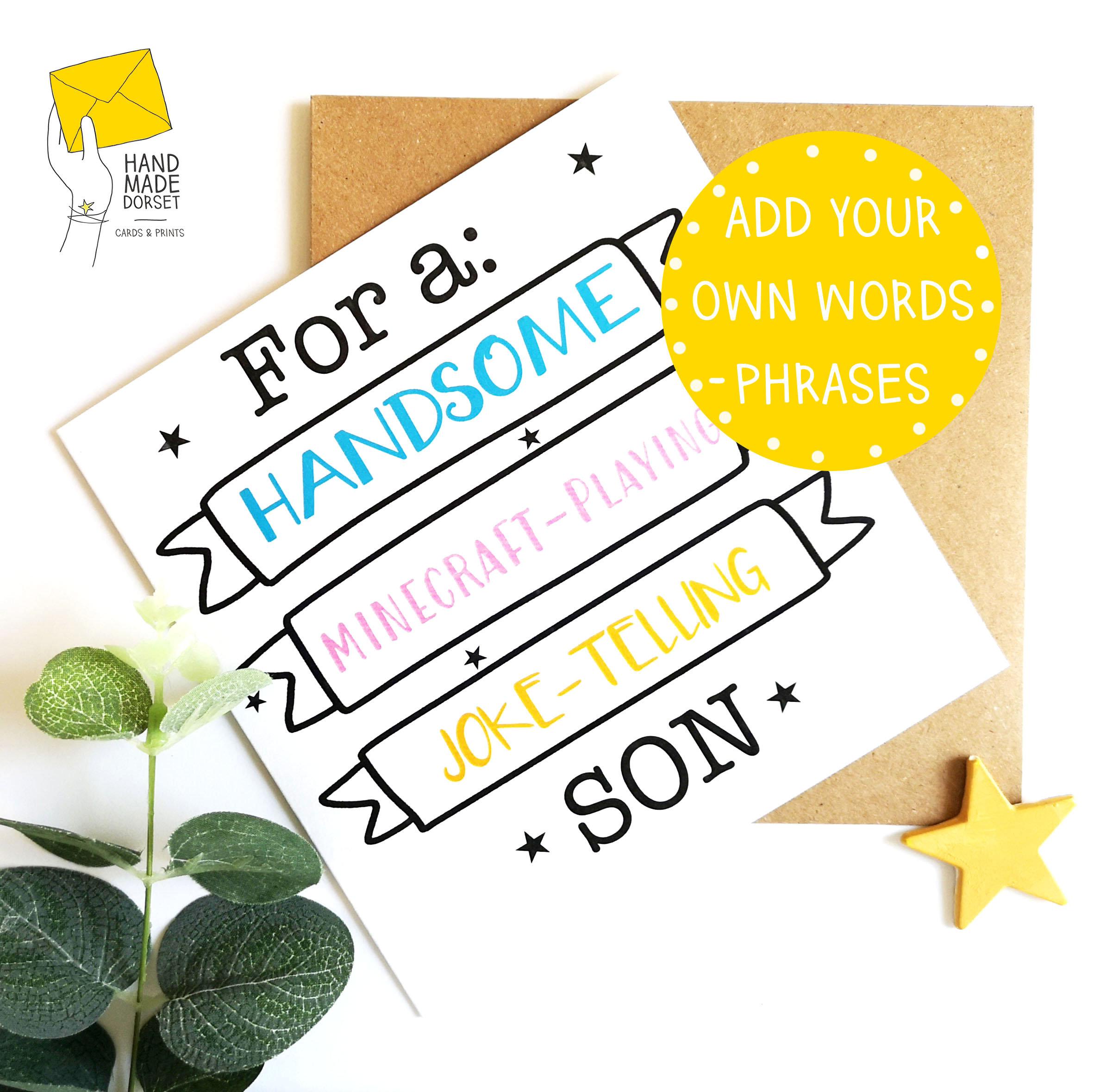 Strange Funny Son Birthday Card Bespoke Son Card Handmade Dorset Funny Birthday Cards Online Alyptdamsfinfo