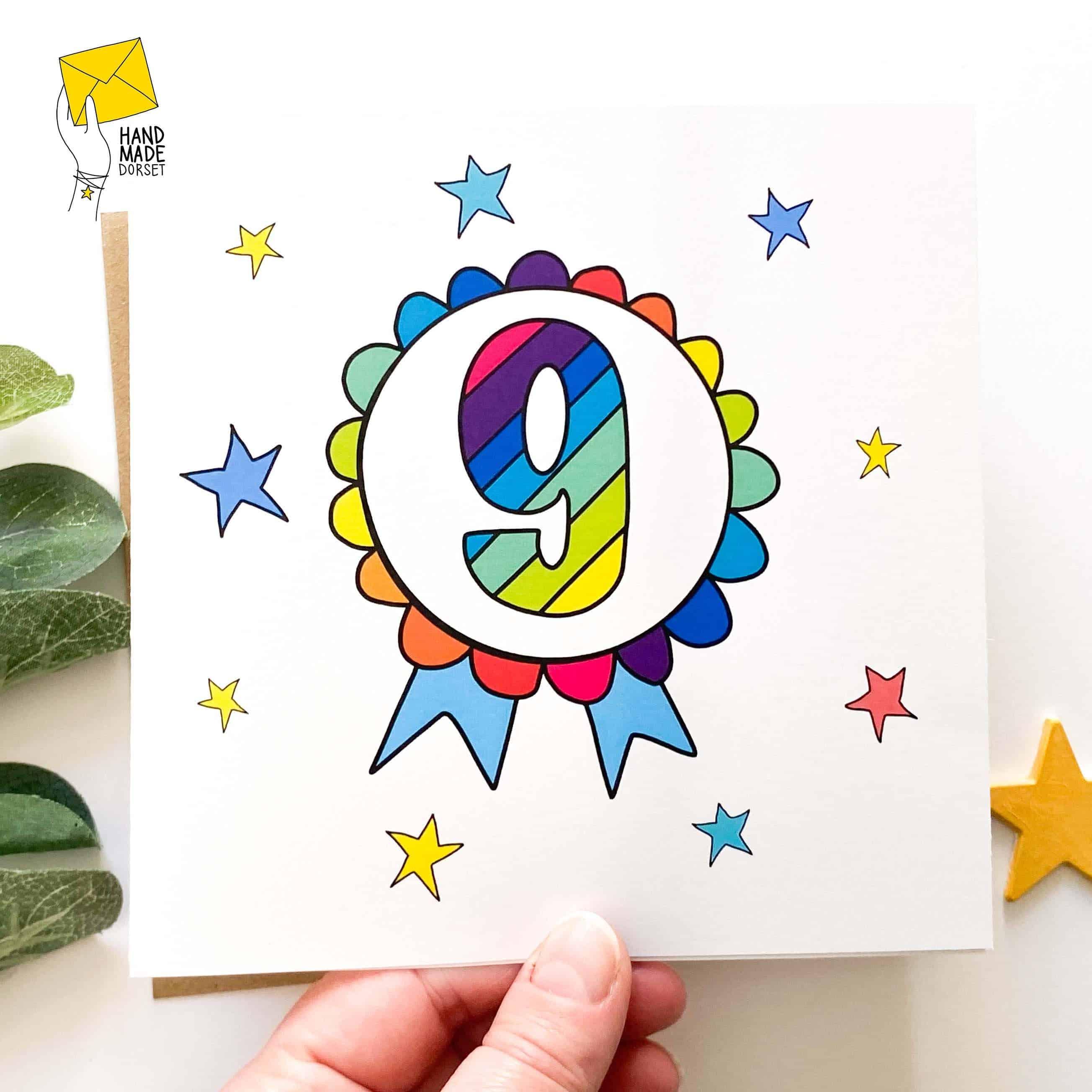 9 Birthday card, birthday card with 9 on