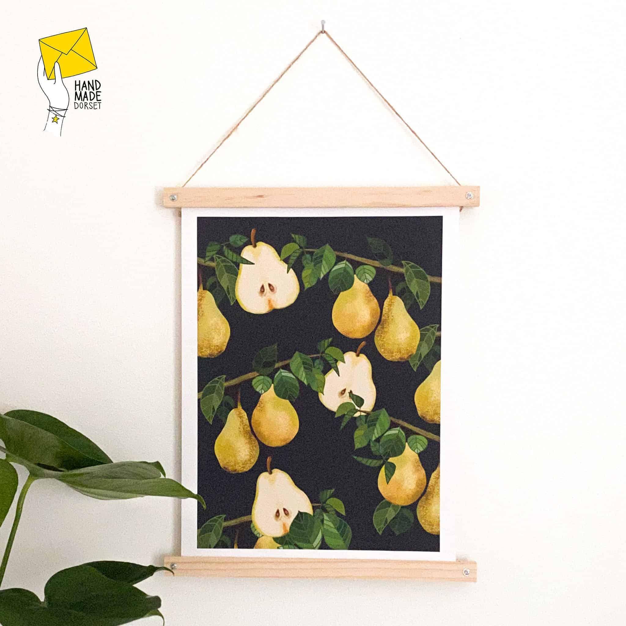 A3 Pears print, botanical fruit print