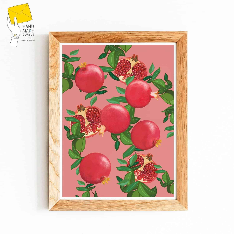 Pomegranate print, botanical fruit print