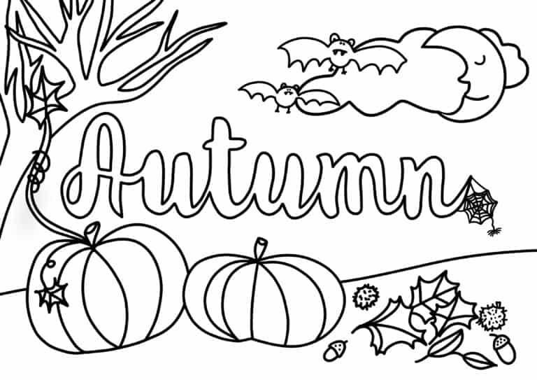 Autumn printable colour-in sheet by Handmade Dorset